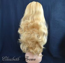 Sexy Gold Blonde Highlights mix Long Curly 3/4 Wig Half Wig 096