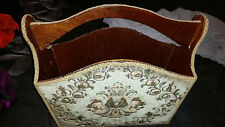 VINTAGE RETRO VERY UNUSUAL WOODEN CARPETED ? MATERIAL SHAPED  MAGAZINE RACK