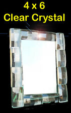 4 x 6 Clear Crystal Glass DIAMOND FOTO FREE STAND FRAME by LAETITIA