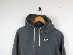 Nike Women Casual Grey Solid Chest Logo Hoodie Hooded Sweatshirt Funnel Neck S