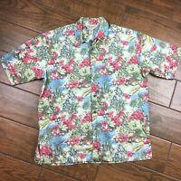 Cooke Street MENS MEDIUM Honolulu Parrot Narnia Short Sleeve Button Hawaiian