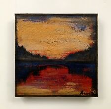Modern Original Abstract Painting Lake Tahoe Gold Leaf Nature Gallery Art Anya