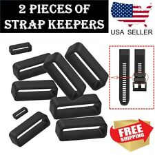 2 pcs Silicone Watch Strap Band Hoop Loop Retainer Buckle Holder Ring Keeper