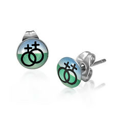 Pride Shack - Lesbian Pride Earrings - Double Female Stud (Black, Green & Blue)