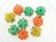 Vintage French Mix Color Pastel Textured Spike Spunk Pom Pom Lucite Bead Drops