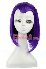 "Womens 13"" Medium Straight Purple Cosplay Wig Halloween Party Hair Wigs"