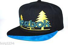 Reebok NK99Z Embroidered Trees Logo Snapback Flat Bill Cap Hat Black/Yellow/Blue