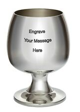 More details for new personalised brandy pewter goblet any message engraved