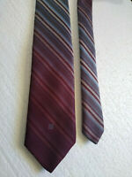 GIVENCHY Burgundy Gray Blue Striped Vintage TIE  Monte Factor / Jerry Rothschild