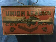 Vintage UNION LEADER Cut Plug Advertising Lunch Box Tin with Handle