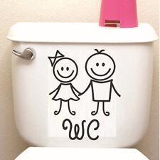 Cute Cartoon Girl Boy WC Toilet Bathroom Home Wall Sticker Removable Decoration
