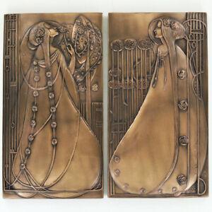 Pair of Rennie Mackintosh Lady Design Cold Cast Bronze Wall Art Plaque.New