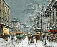 French Winter Street Oil Painting Hd Printed on Canvas 16X20 inch P632