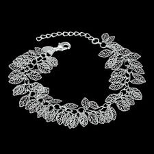 """Wholesale 925Sterling Silver Lovely Tree Leaf Chain Women Bracelet 8"""" HY407"""