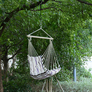Outsunny Outdoor Hanging Rope Chair Garden Swing Hammock w/ Cotton Cloth Brown