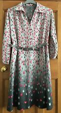 Vintage Boho Hippy Geometric Belted Tunic Dress Size 16