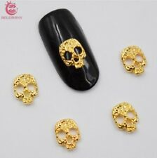 10psc Golden Skull 3d Nail Art Decorations Alloy Nail Charms Nails Rhineston 335969ad6340