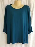 Eileen Fisher Sz M teal dolman sleeve jersey stretch top boxy GUC relaxed