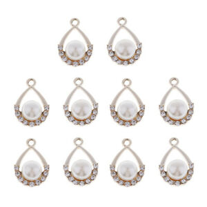 10x Drop Pearl Rhinestone Charm Pendants for Earrings Making Fashion Jewelry