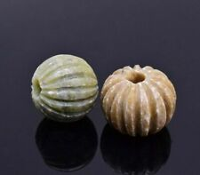 Stone Carved Green/ Tan Beads  Round 23 mm Crafts Jewelry Making Vintage