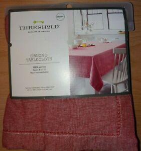 Threshold Tablecloth Chambray Hemstitch Red - 60 X 104 In Oblong 100% Cotton NEW