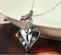 Made With Swarovski Crystal Sparkly Silver Blue Heart Necklace Pendant Jewellery