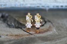 AamiraA 18K Gold Plated Oval Flower Zircon AAA+ Designer Earrings Hoops Loops