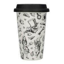 Victoria & Albert Alice In Wonderland Travel Mug Ceramic Cup With Silicone Lid