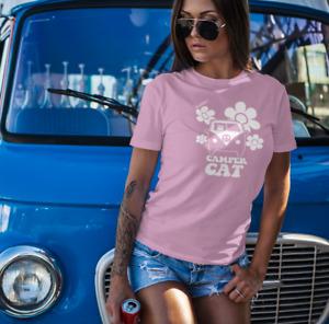 Ladies Camper Cat Tshirt Hippy Groovy T-Shirt Road Trip Shirt VW Camper Van Tee