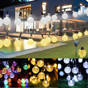 20-100 LED Solar Powered Garden Party Fairy String Crystal Ball Outdoor Lights