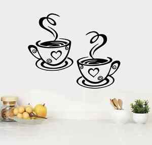 2 Coffee Cups Kitchen Wall Stickers Cafe Vinyl Art Decals (FCC04)