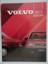 Volvo 360 Saloon Brochure 1984 - 1986cc GLE & GLE injection models.