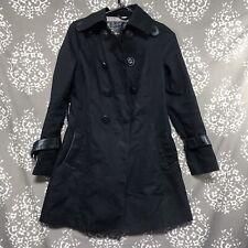 Mackage Black XS Trenchcoat Flaws Jacket Leather Waterproof Missing Belt Button