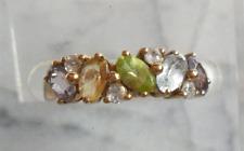 9Ct Gold Multi-Coloured Gemstone Tutti Fruiti & Diamod Ring ~ UK N/US 6.5 ~R0182