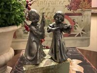 (2) Vintage Peltro~Made In Italy~Angels~Pewter~Playing Mandolin/Violin~FREE SHIP