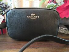 New Coach 39938 Black Gold Polished Pebbled Leather Belt Bag Purse $195