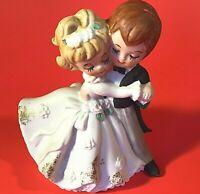 LEFTON BISQUE BRIDE AND GROOM FIGURINE VINTAGE DANCING 4 INCH