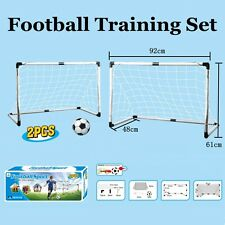 2 Mini Football Soccer Goal Post Net + Ball + Pump Kids Outdoor Sport Training