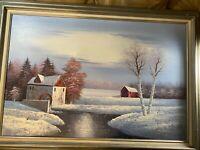 "Huge Raymond ""Winter Landscape Scene"" Oil Painting - Signed And Framed"