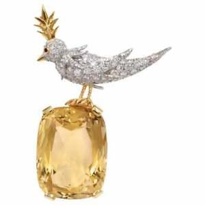 Large Gold Yellow Cushion Cut 75.10CT Citrine 925 Silver Bird On A Rock Brooch