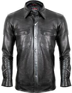 Herren Lederhemd aus weichem Lammnappa Leder in schwarz