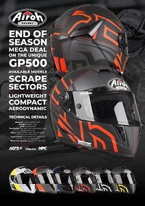 NEW AIROH GP500 FULL FACE CARBON FIBRE MOTORCYCLE SPORTSBIKE HELMET KTM ORANGE