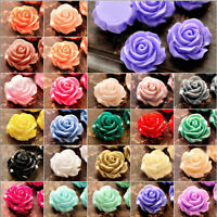 10/20 SMALL RESIN ROSE FLOWER BEADS FLAT BACKED 10/12/15mm - Choice of Colours