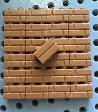 Lego Bricks 1x2 Red Reddish Medium Nougat Modified w/Masonry Profile Wall 25pcs