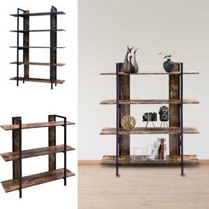 Industrial Shelving Unit 3/4/5 Tier Rustic Bookcase Book Shelf Storage Display