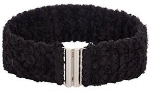 Women Lace Wide Belt For Dress Stretchy Elastic Waist Belt (M,Black)