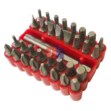 SCREWDRIVER BIT SET 33 PC SECURITY TOOL DRILL HOLDER TORX STAR HEX WITH RED CASE