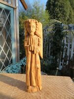 Vintage Large Wooden Carved Handmade Religious Folklore Angel w/ Wings
