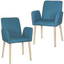 2er Set Retro Esszimmerstuhl Petrol Stoff Küchenstuhl Armlehnen Stuhl Holz Beine