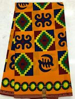 African KENTE Prints /African Print Fabric/ African Clothing/ Yellow Orange